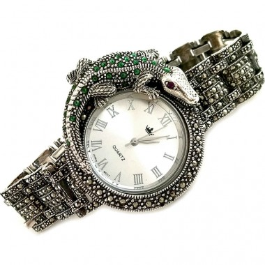 Exclusive Crocodile Natural Marcasite Sterling Silver Watch for Men