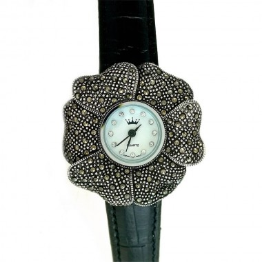 Flower Design Marcasite Silver Women's Watch with Leather Strap