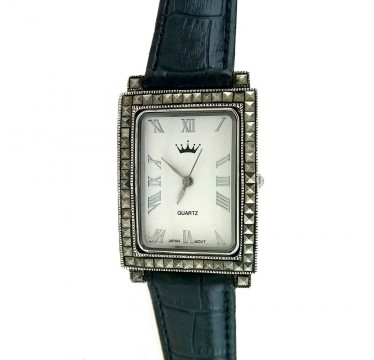 Classic Sterling Silver Marcasite Ladies Watch with Leather Strap