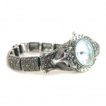 Unique Fox Design Marcasite Sterling Silver Women's Wristwatch