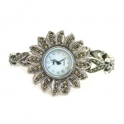 Flower Design Natural Marcasite Ladies Sterling Silver Watch with Bracelet