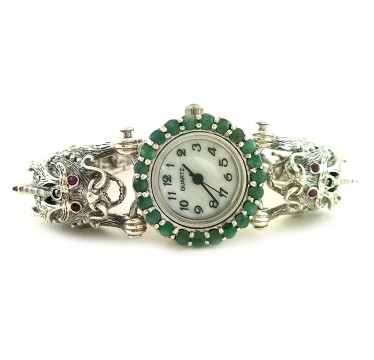 Dragon Design Sterling Silver Watch for Ladies With Marcaite & Emerald