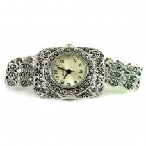 Sterling Silver Ladies' Wristwatch with Rectangle Face with Marcasite