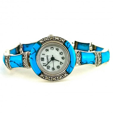 Blue Turquoise & Marcasite Sterling Silver Wristwatch for Women