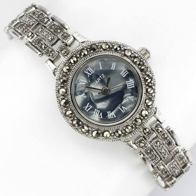 vintage style natural champagne marcasite sterling silver ladies' watch