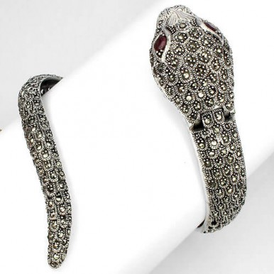 breathtaking exclusive design! natural ruby & marcasite jumbo cobra 925 silver watch