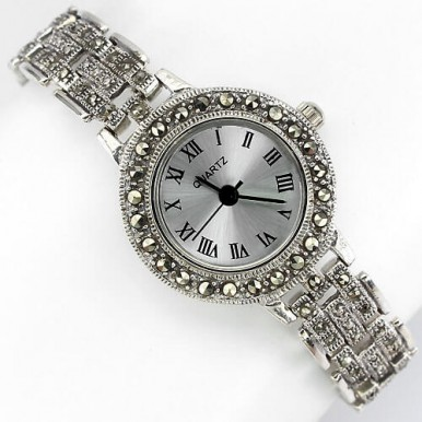 vintage style natural marcasite stones 925 sterling silver ladies' watch
