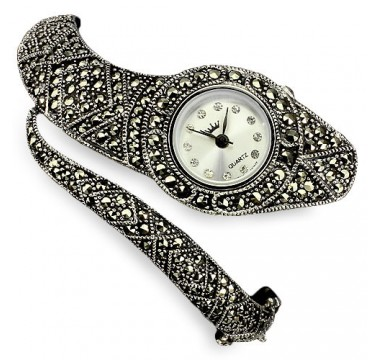 unique cobra design, genuine marcasite & CZ 925 sterling silver ladies' bangle wrist watch