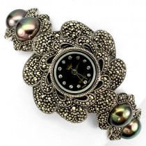 deluxe 925 sterling silver jewelry ladies watch with natural marcasite, black pearl & CZ