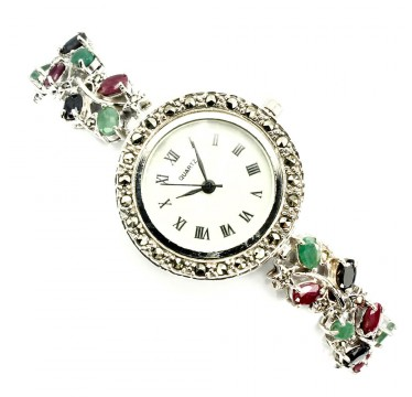 Pretty Silver Watch for Women with Marcasite, Sapphire, Ruby & Emerald