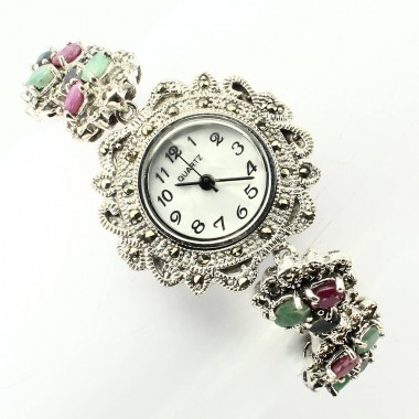 Nice Silver Wristwatch for Ladies With Marcasite, Ruby, Sapphire & Emerald