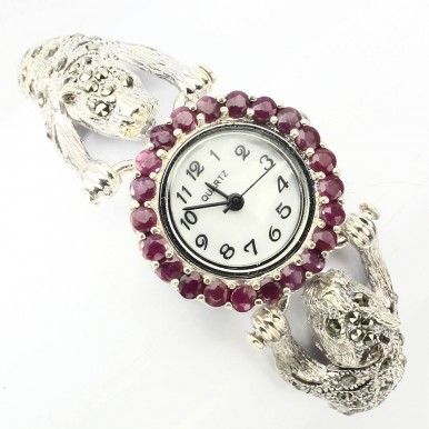 Awesome Tiger Heads Design Silver Women's Watch with Marcasite & Ruby