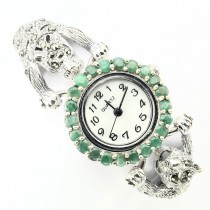 Great Tiger Heads Design Silver Watch with Emerald & Marcasite