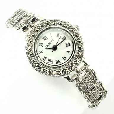 Vintage Style Sterling Silver Women's Watch with Natural Marcasite