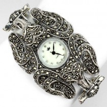 stunning design! champagne marcasite & CZs elephant 925 silver ladies' watch