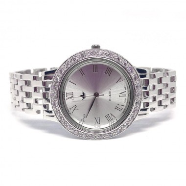heavy jewelry solid 925 sterling silver mens wrist watch with diamond CZs