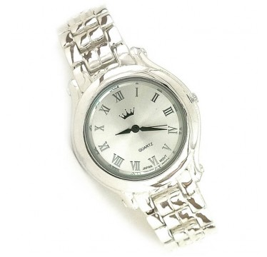 Men's Classic Jewelry 925 Sterling Silver Wristwatch with Silver Bracelet