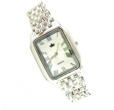 Stylish Sterling Silver Men's Wristwatch with Silver Bracelet