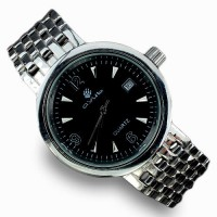water resistant, heavy 14k white gold over 925 sterling silver mens watch