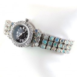 Cute Sterling Silver Wristwatch for Ladies with Rainbow Fire Opal