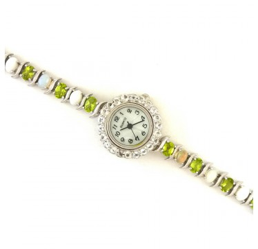Sterling Silver Women's Watch with Natural Fire Opal, Peridot & White Topaz