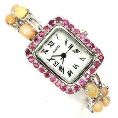 precious sterling silver womens wrist watch with hot rainbow fire opal & red ruby