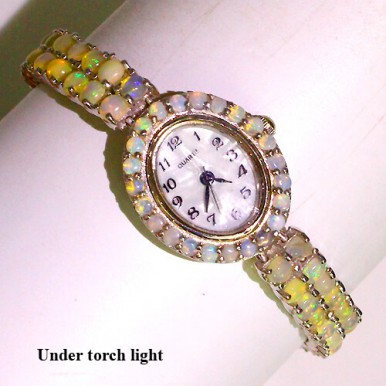 amazing authentic hot rainbow luster fire opal 925 sterling silver ladies luxury wrist watch