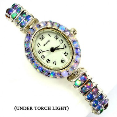 natural hot rainbow luster fire opal 14k white gold 925 sterling silver ladies' wrist watch