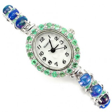 deluxe sterling silver 14k white gold jewellery ladies watch with genuine fire opal & emerald