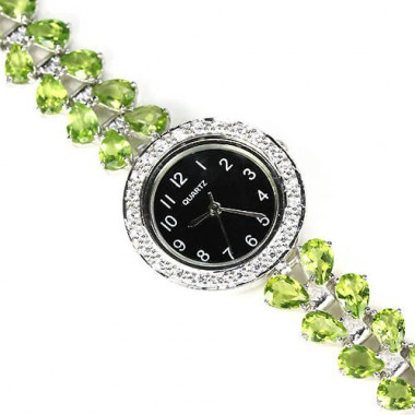 natural apple green peridot 925 sterling silver 14k white gold womens wrist watch