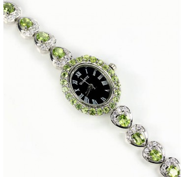 natural apple green peridot & CZ stones 925 sterling silver 14k gold coated womens watch