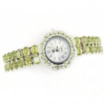 Gorgeous Natural Green Peridot Sterling Silver Adjustable Wristwatch