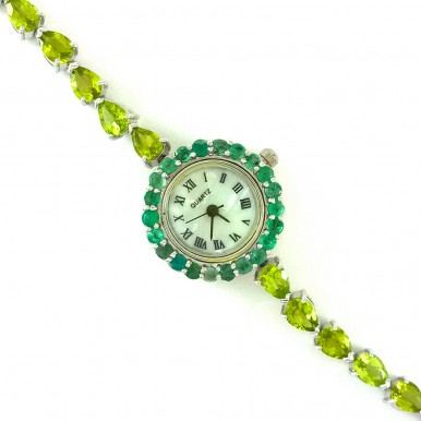 Gracious Natural Peridot & Emerald Sterling Silver Wristwatch for Ladies