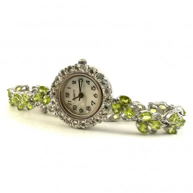 Sublime Sterling Silver Women's Watch with Green Peridot & White Topaz