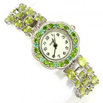 admirable sterling silver wrist watch for woman with green peridot, emerald & chrome diopside