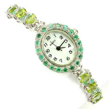 Nice Sterling Silver Bracelet Watch for Women with Natural Peridot & Emerald