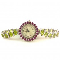 Precious Sterling Silver Ladies' Watch with Natural Peridot & Rhodolite Garnet