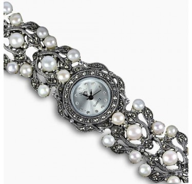 genuine big white pearl & marcasite 14k white gold over 925 silver womens watch