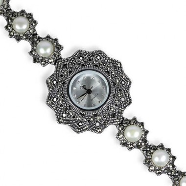authentic jewels white pearl & marcasite 925 sterling silver 14k white gold wrist watch for lady
