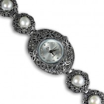 authentic white pearl & marcasite 925 sterling silver wrist watch for woman