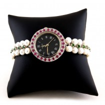 Luxurious 925 Silver Ladies' Watch with Pearl, Chrome Diopside & Ruby