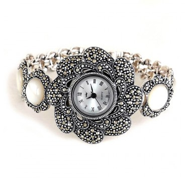 Flower Face Design Natural Mother of Pearl & Marcasite Silver Watch