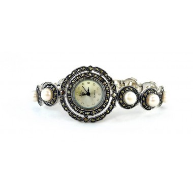 Classic Design Sterling Silver Ladies' Watch with Natural Marcasite and Pearl