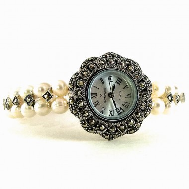 Attractive Sterling Silver Women's Watch with White Pearl & Marcasite
