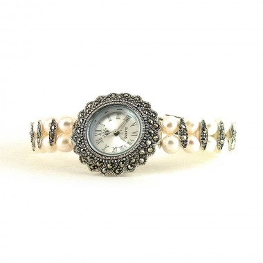 Graceful Jewelry Watch for Women with Natural Pearl & Marcasite