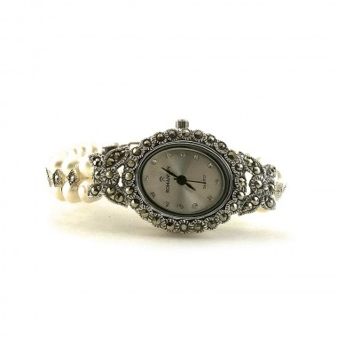 Mesmerizing Butterfly Design sterling silver ladies' watch with pearl & marcasite
