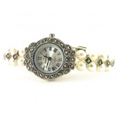 Beautiful Solid Silver Ladies' Wristwatch with Pearl Bracelet & Marcasite