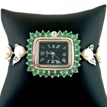 Cute Sterling Silver Ladies' Watch with Natural Pearl, Emerald & Chrome Diopside