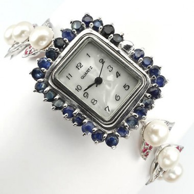 natural white pearl, ruby & sapphire sterling silver jewelry wrist watch for lady