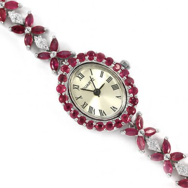 splendid natural ruby & CZ 925 sterling silver 14k white gold jewelry wrist watch for women